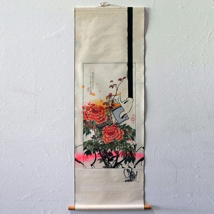 Slick X Linda Chang Wyrgatsch Original Art - 3 Peonies & A Can - Original Artwork