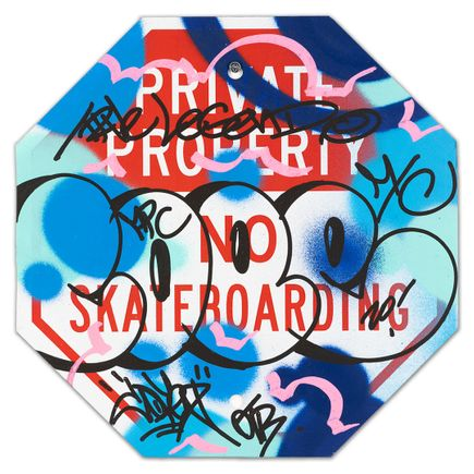 Cope2 Original Art -  Private Property No Skateboarding Sign - I - 12 x 12 Inches