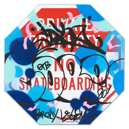 Cope2 Original Art - Private Property No Skateboarding Sign - III - 12 x 12 Inches