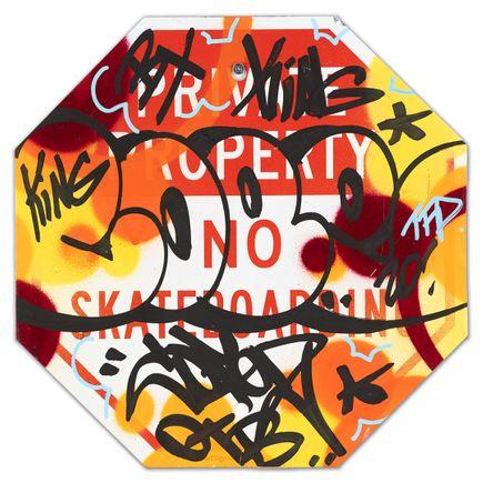 Cope2 Original Art - Private Property No Skateboarding Sign - V - 12 x 12 Inches