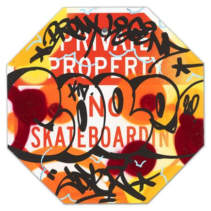 Cope2 Original Art - Private Property No Skateboarding Sign - VII - 12 x 12 Inches