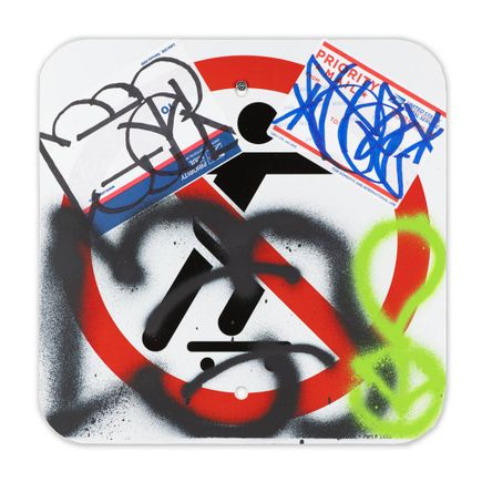 Hael Original Art - No Skateboarding Sign - XI - 12 x 12 Inches
