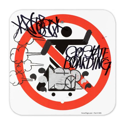 Hael Original Art - No Skateboarding Sign - XVIII - 12 x 12 Inches