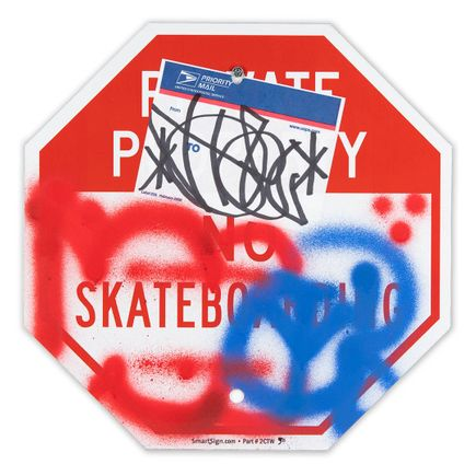 Hael Original Art - Private Property No Skateboarding Sign - I - 12 x 12 Inches