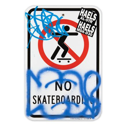 Hael Original Art -  No Skateboarding - II - 12 x 18 Inches