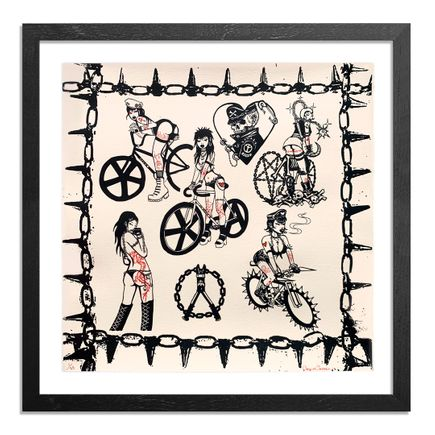 Caroline Caldwell Art Print - Biker Babez - Hand-Embellished Cream Edition
