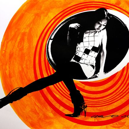 Camilo Pardo Art Print - Circle Girl - Orange Two Tone Variant