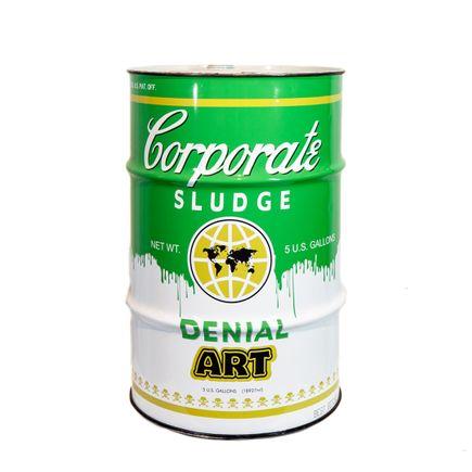 Denial Original Art - Corporate Sludge Toxic Waste Barrel