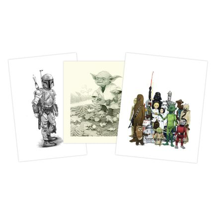 Matt Gordon Art Print - 3-Print Set - Boba + Happy Yoda + Vintage Star Wars