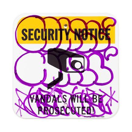 Hael Original Art - Security Notice - III - 12 x 12 Inches