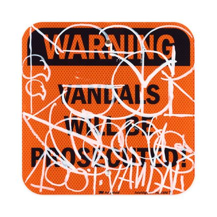 Hael Original Art - Vandals Will Be Prosecuted - X - 12 x 12 Inches