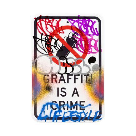 Hael Original Art - Graffiti Is A Crime II - I - 12 x 18 Inches