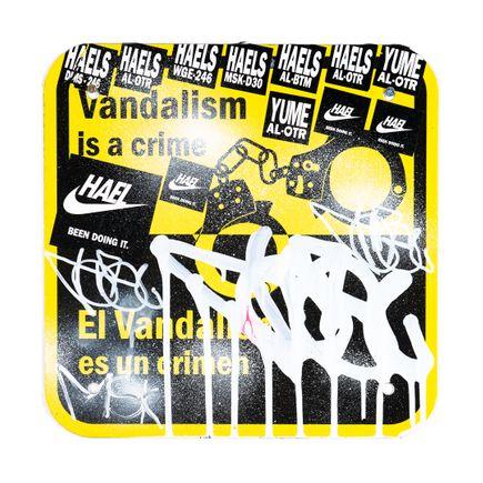 Hael Original Art - Vandalism Is A Crime - VII - 12 x 12 Inches