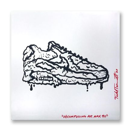 Sheefy Original Art - Decomposing Air Max 90 - 18 x 18 Inch Panel - Original Artwork