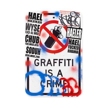 Hael Original Art - Graffiti Is A Crime II - II - 12 x 18 Inches