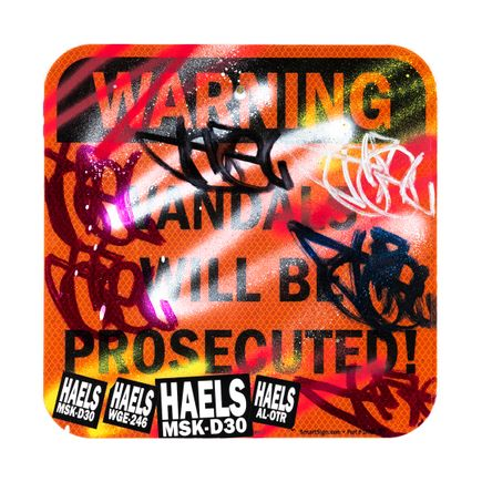 Hael Original Art - Vandals Will Be Prosecuted - V - 12 x 12 Inches