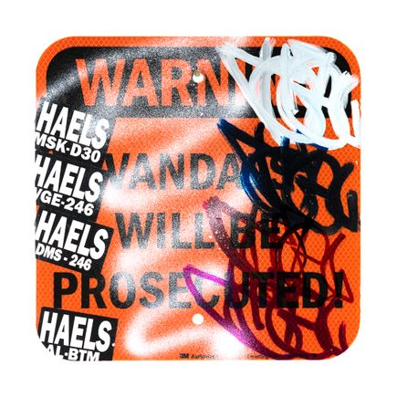 Hael Original Art - Vandals Will Be Prosecuted - VI - 12 x 12 Inches