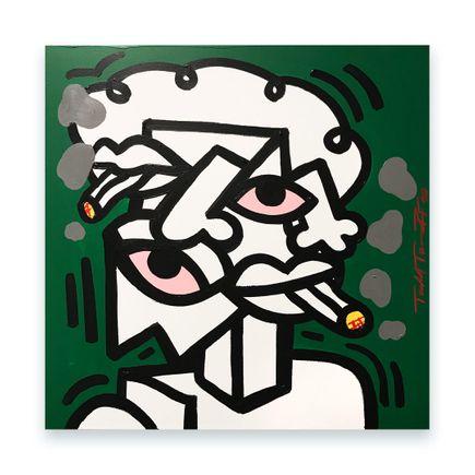 Sheefy Original Art - Dark Green Study - 18 x 18 Inches - Original Artwork