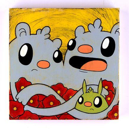 Kill Taupe Original Art - Poppies & A Bunny