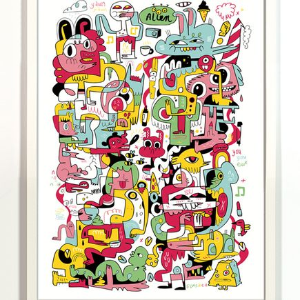 Jon Burgerman Art Print - Alien - Framed