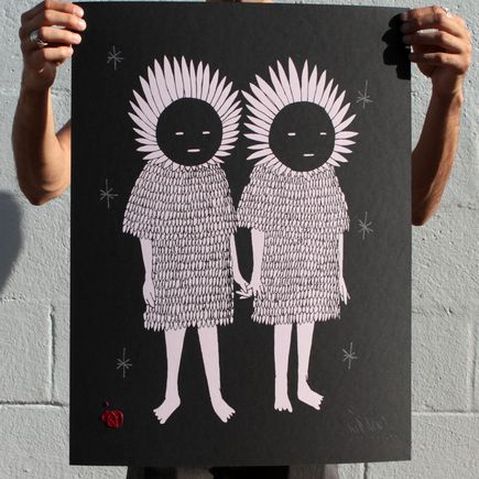 Kid Acne Art Print - Twins - Hand-Embellished Black Edition