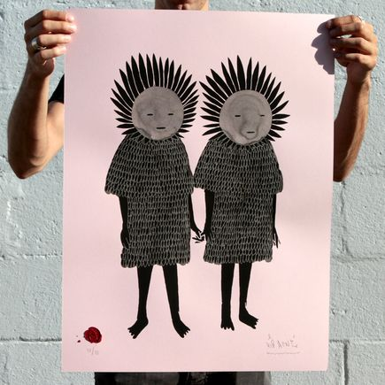Kid Acne Art Print - Twins - Hand-Embellished Pink Edition