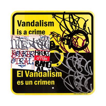 Hael Original Art - Vandalism Is A Crime En/Es - 18 x 18 Inches
