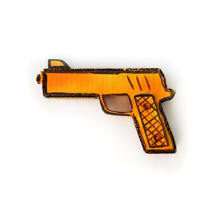 Bill Barminski Original Art - 45 Pistol - Yellow/Orange