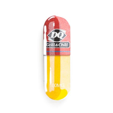 Denial Original Art - Micro-Dose - Dairy Queen - 3 x 10 Inch Pill