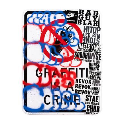 Hael Original Art - Graffiti Is A Crime II - I - 18 x 24 Inches