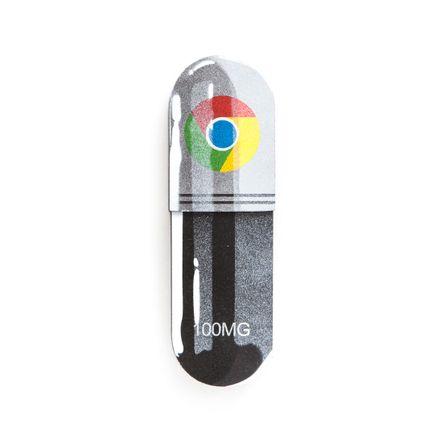 Denial Original Art - Micro-Dose - Google Chrome - 3 x 10 Inch Pill