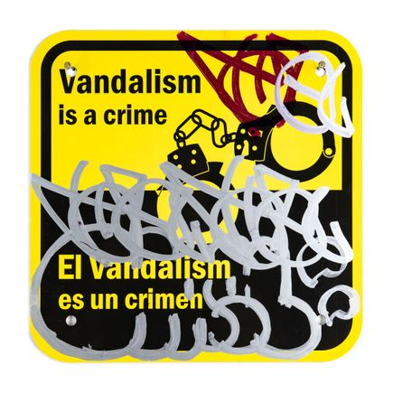 Hael Original Art - Vandalism Is A Crime - I - 12 x 12 Inches