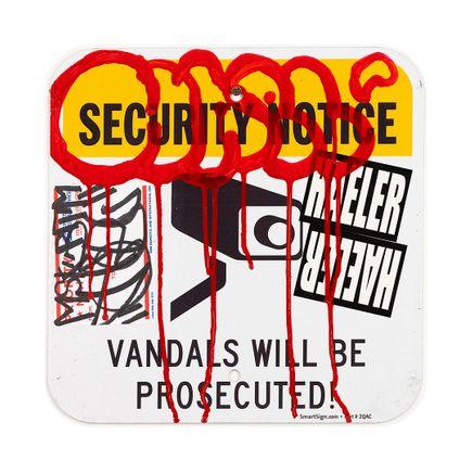 Hael Original Art - Security Notice - I - 12 x 12 Inches