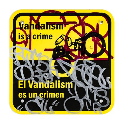 Hael Original Art - Vandalism Is A Crime - III - 12 x 12 Inches
