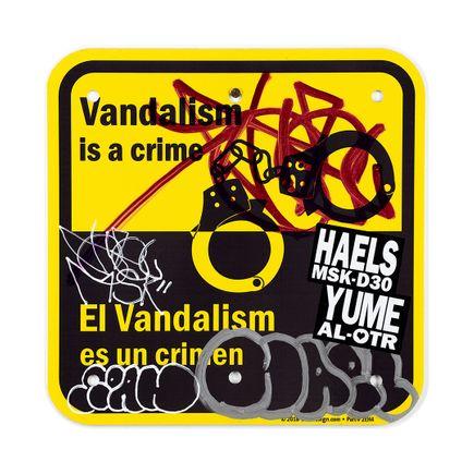 Hael Original Art - Vandalism Is A Crime En/Es - 12 x 12 Inches