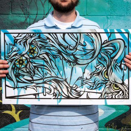 Malt Art Print - Splitting Atoms Blue/Green Edition