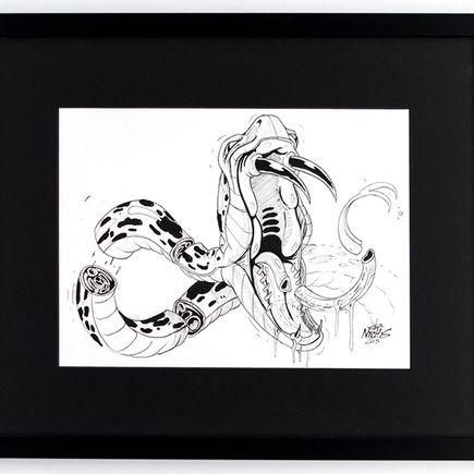 Nychos Original Art - Serpent Death - Ink Drawing