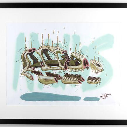Nychos Original Art - Cross Section of a Raptor Skull - Original Painting