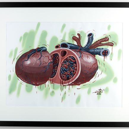 Nychos Original Art - Sliced Heart - Original Painting