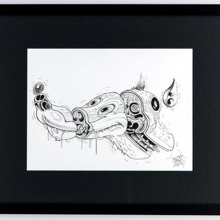 Nychos Original Art - Cross Section of a Luny Doberman - Ink Drawing