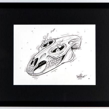 Nychos Original Art - Luny Horse Skull - Ink Drawing