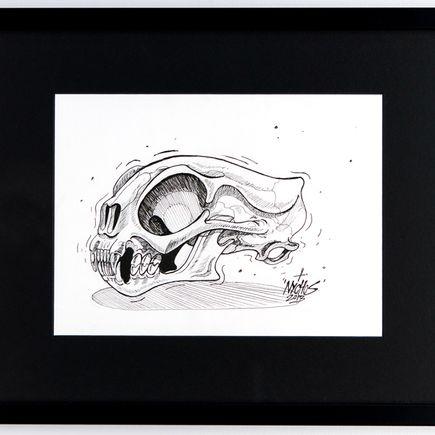Nychos Original Art - Cat Skull - Ink Drawing