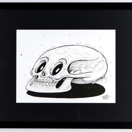 Nychos Original Art - Luny Skull - Ink Drawing