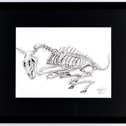 Nychos Original Art - Skeleton of A Unicorn - Ink Drawing