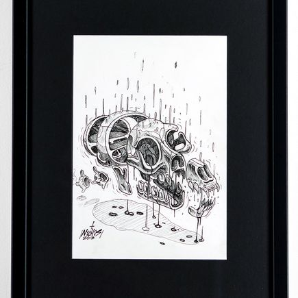 Nychos Original Art - Cross Section of a Wolf Skull - Ink Drawing