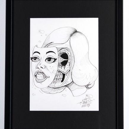 Nychos Original Art - Pin-Up Face Off - Ink Drawing