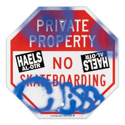 Hael Original Art - Private Property No Skateboarding Sign - II - 12 x 12 Inches