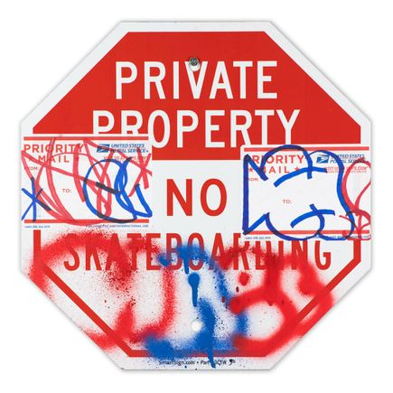Hael Original Art - Private Property No Skateboarding Sign - III - 12 x 12 Inches