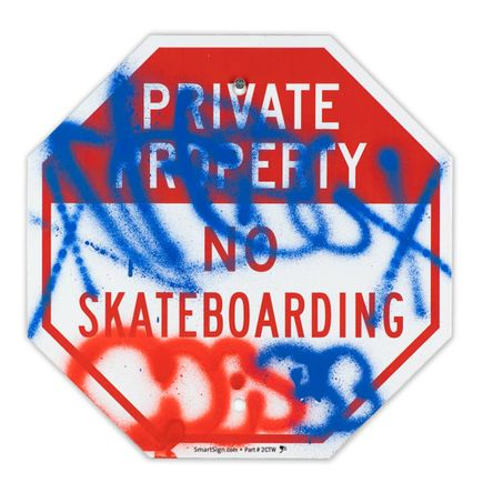 Hael Original Art - Private Property No Skateboarding Sign - IV - 12 x 12 Inches