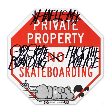 Hael Original Art - Private Property No Skateboarding Sign - IX - 12 x 12 Inches